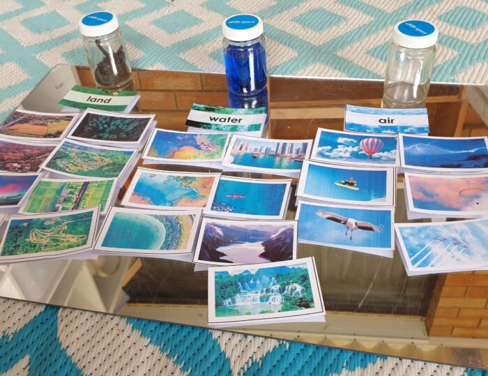 Land, water and air sorting activity with Montessori Nature cards