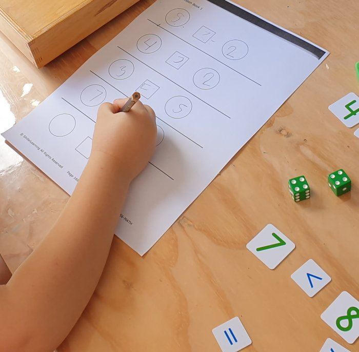 Inequality math activity with dice