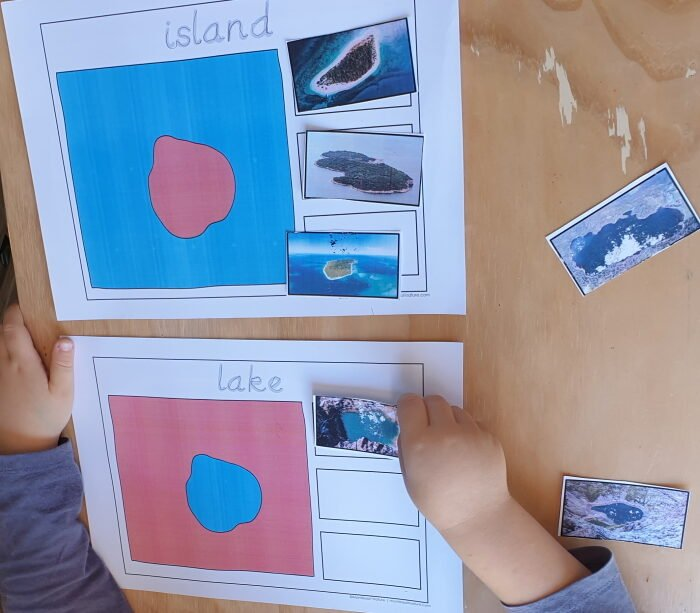 Island and lake playdough mats and picture cards