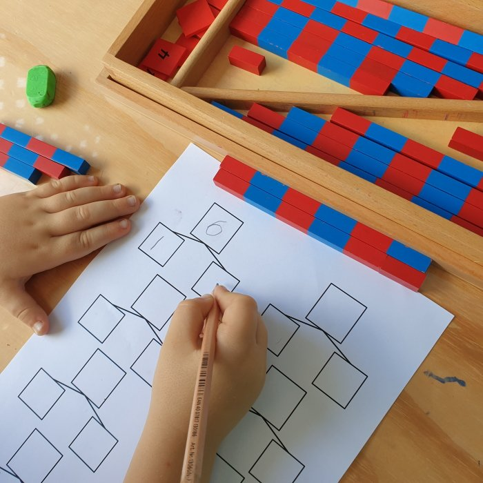 Math activity - Addition with small number rods