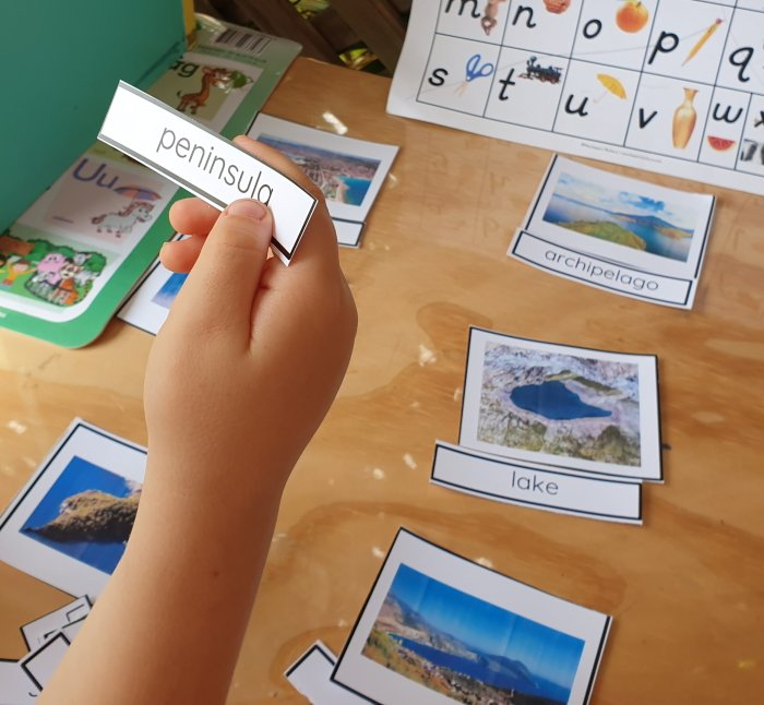 land and water forms Montessori Nature 3 part cards