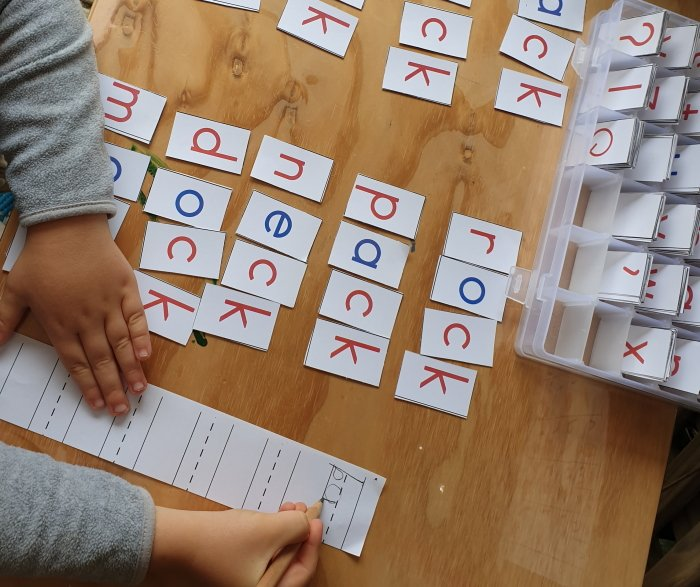 Building four letter phonetic words with the DIY moveable alphabet Montessori Nature Printable