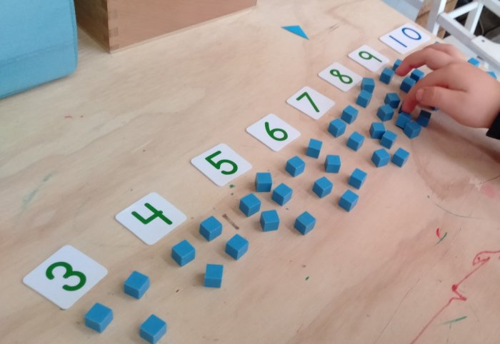 Math odd and even activities with number cards and unit cubes
