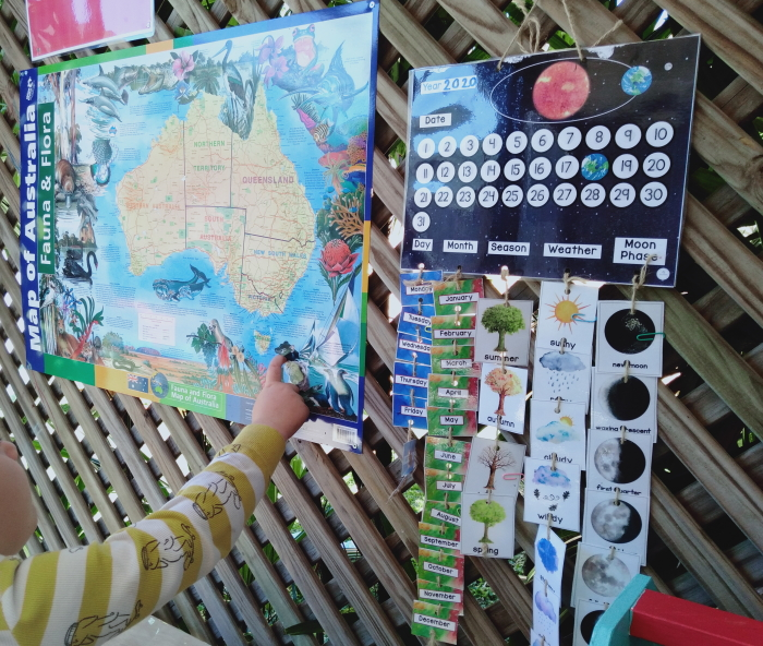 Austrlaia map and child's calendar