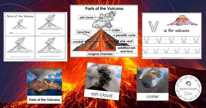 Parts of the Volcano Montessori Nature Free Printable
