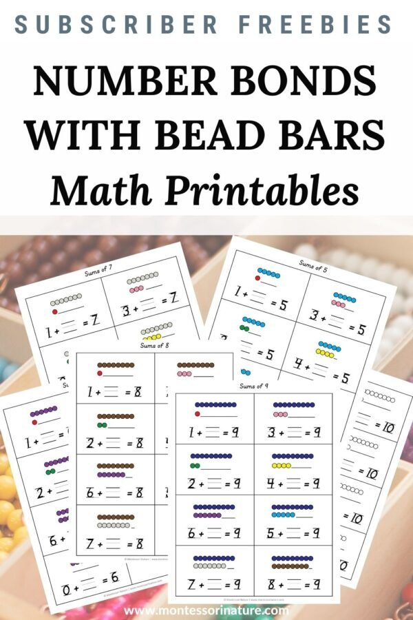 Number Bonds - Addition with Bead Bars Sums of 5, 6, 7, 8, 9, and 10 - Free Math Printable