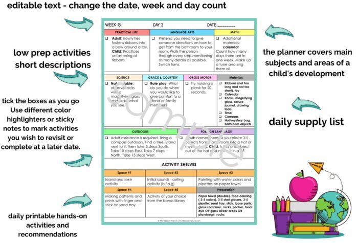 early learning prefilled planner montessori nature