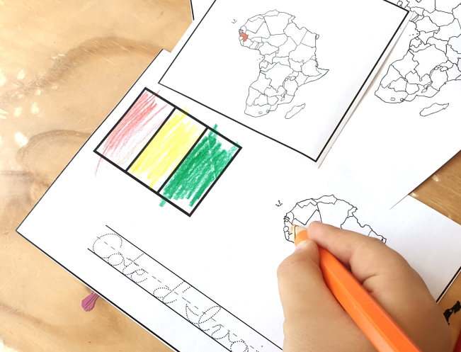 child coloring African flag