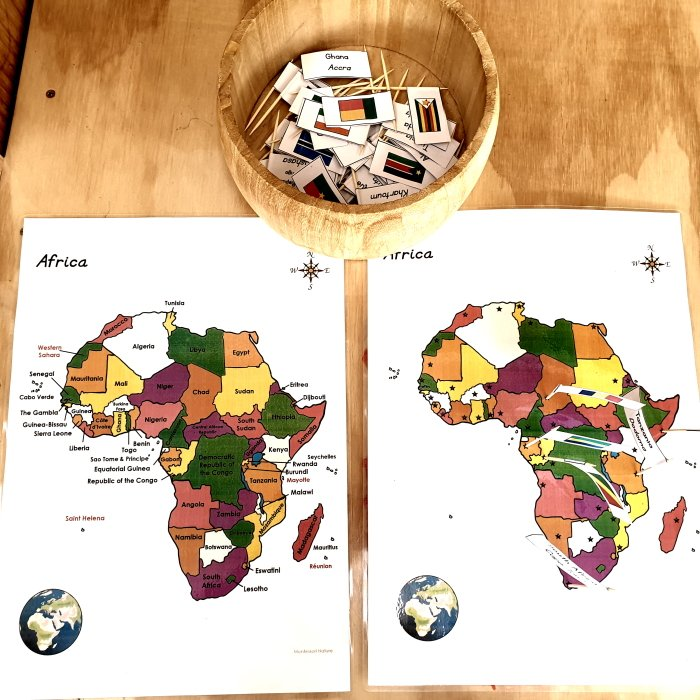 Africa Maps, Blackline Masters, Card Strips with Flags