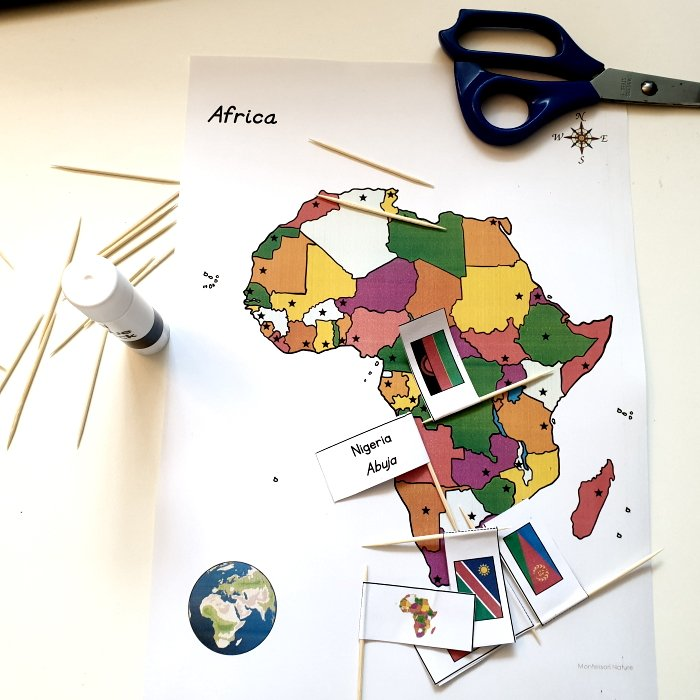 Preparation of the Africa flag pinning activity
