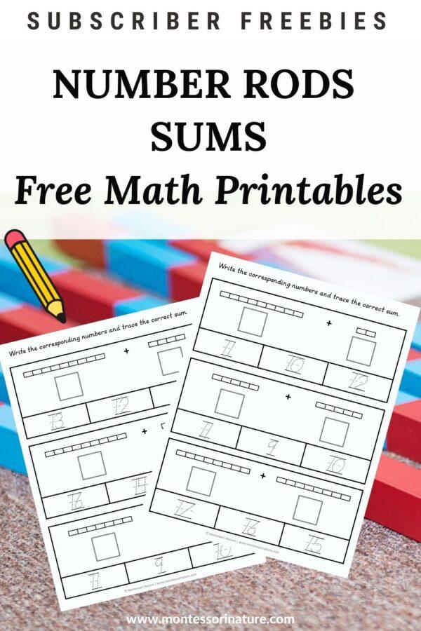 Number rods worksheets