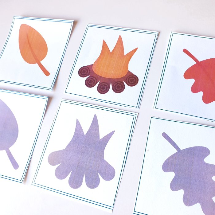 Fall printable for kids - matching fall pictures to their shadows