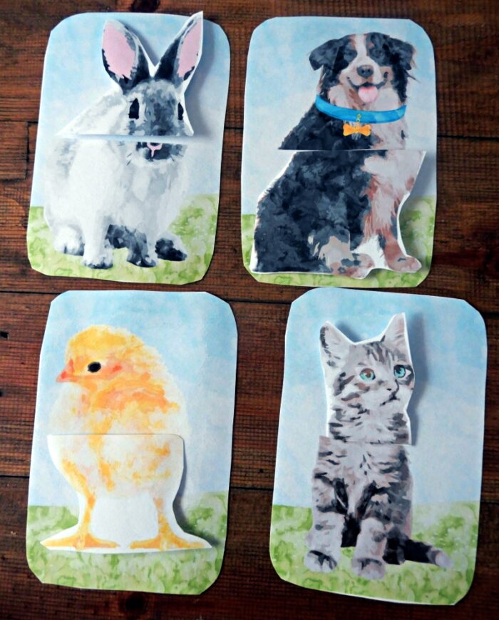 Matching cards with farm animals - printable for preschoolers