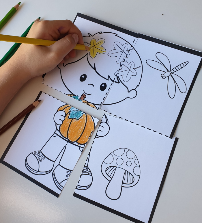 coloring puzzles - fall printable for kids