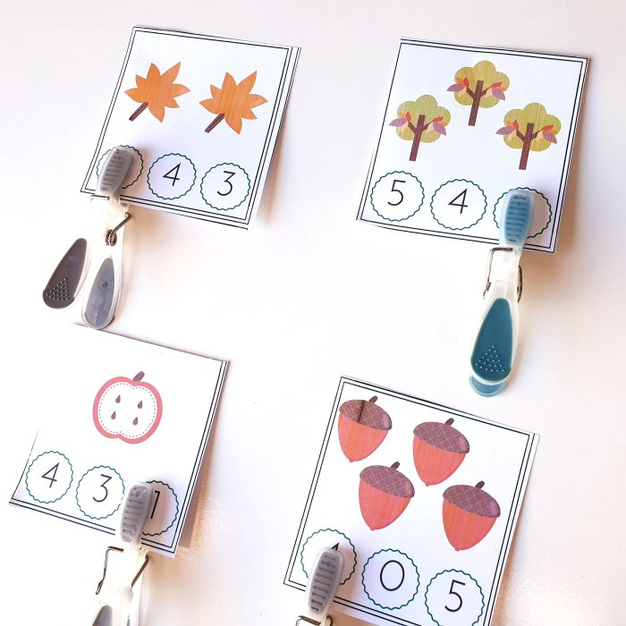 clip cards with fall images for counting