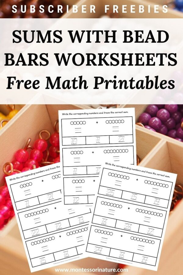 sums with bead bars free math worksheets