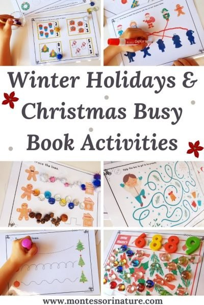 Christmas Busy Book Winter Holidays Learning Activities December Activities Montessori Nature