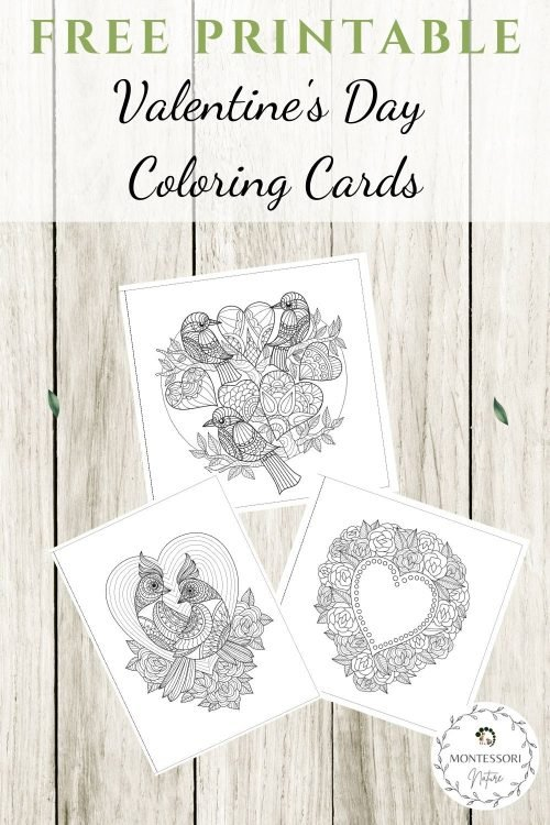 Pin Valentine's Day Coloring Cards Free Printable Montessori Nature post